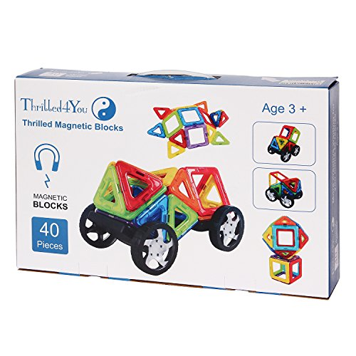 Thrilled4You Magnetic Building Set- Top 40-Piece Toddler Mag