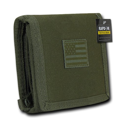 USA US American Flag Tactical Patriotic Military Trifold Wallet Money Holder (Olive)