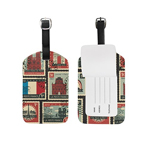 Stamps of France Luggage Tags,Bag Tags Travel ID Labels For Baggage Suitcases (Luggage France)