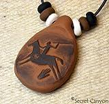 Primitive Spirit Horse Hunter--Handmade Clay Pendant - Native American Indian - Rock Art