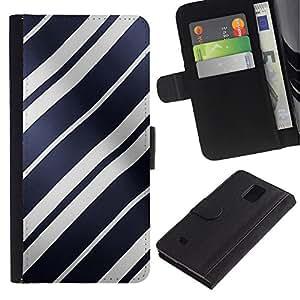 Planetar® Modelo colorido cuero carpeta tirón caso cubierta piel Holster Funda protección Para Samsung Galaxy Note 4 IV / SM-N910 ( White Lines Shiny Blue Pattern Wave )