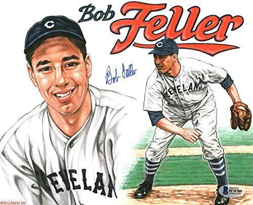 Autographed Bob Feller Photograph - 8x10 Art Beckett BAS - Beckett Authentication - Autographed MLB Photos
