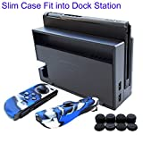 Hikfly 3in1 Ultra Slim Docked PC Cover Case for Nintendo Switch(Transparent Black) & Silicone Covers (Camo Blue) for Joy-Con Controllers with 8pcs Thumb Grips Super Thin Fit into Dock For Sale