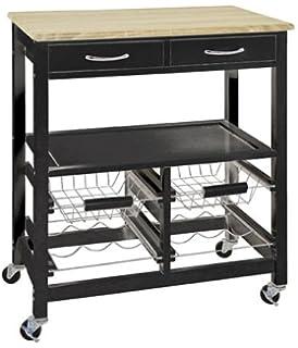 haku mobili carrello da cucina, legno, rovere chiaro/nero: Amazon.it ...