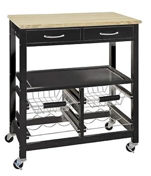 HAKU Furniture Carrito de Cocina, Tablero DM, Negro/Roble Claro, 37 x 68 x 84 cm: Amazon.es: Hogar