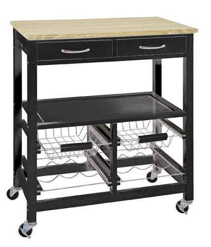 HAKU Furniture Carrito de Cocina, Tablero DM, Negro/Roble Claro, 37x 68x 84cm unknown 15005