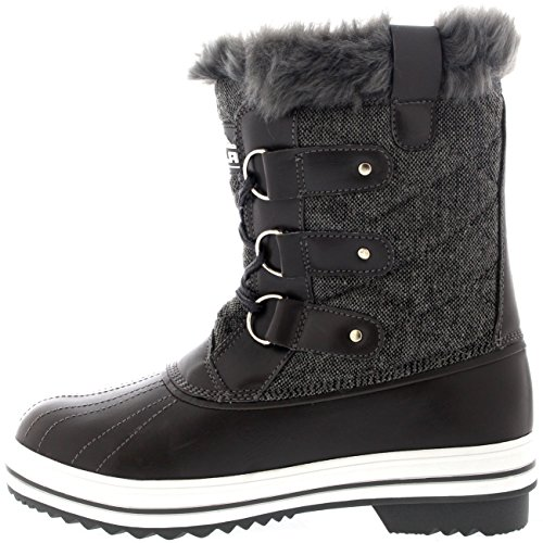 Polar Products Womens Snow Boot Quilted Short Winter Snow Rain Warm Waterproof Boots Grey Textile a691GXP3i