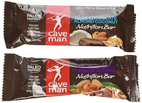 Caveman Foods Nutrition Bar,Variety Pack of Dark Chocolate Caramel Cashew and Dark Chocolate Almond Coconut- 20 Counts Total (10 each flavor)