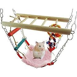 UChic 1PCS Hamster Squirrel Parrot Bird Small Animal Toy Drawbridge Swing Hammock Stairs Pet Supplies Color Randomly