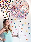 "Toys : 36"" Confetti Balloons Jumbo Latex Balloon Paper Balloons Crepe Paper Filled with Multicolor Confetti for Wedding or Party Decorative (5 Pcs) CVBOSS"
