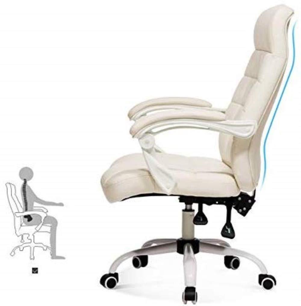 Kontorsstol LHY hem dator stol svart roterande ryggstöd pall enkel spelstol chef stol hållbar (färg: Brun) Vitt