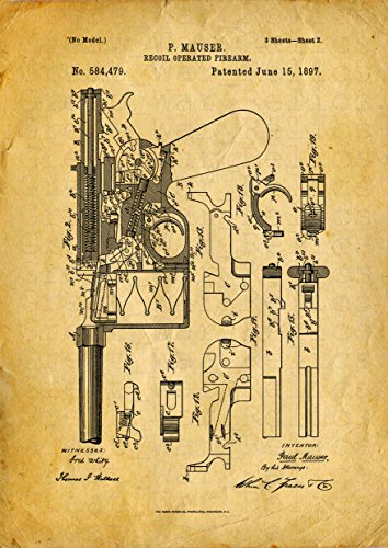 Great War Relics Mauser C96 Model patent print - Size 11.7x16.5 - Yellow color poster - - WW1 WW2 German Broomhandle bb gun classic pistol - Military gun wall posters for airsoft gamers