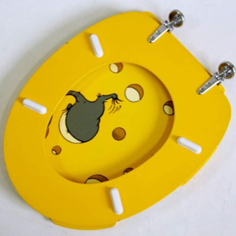 ZHAS Souris Impression Si/ège de Toilette avec MDF Pas Lent /Épaissir Mont/é sur Le Dessus Ultra r/ésistant r/ésistant Facile /à Installer Couvercle de Toilette Convient pour U//O//V Forme Couvercle
