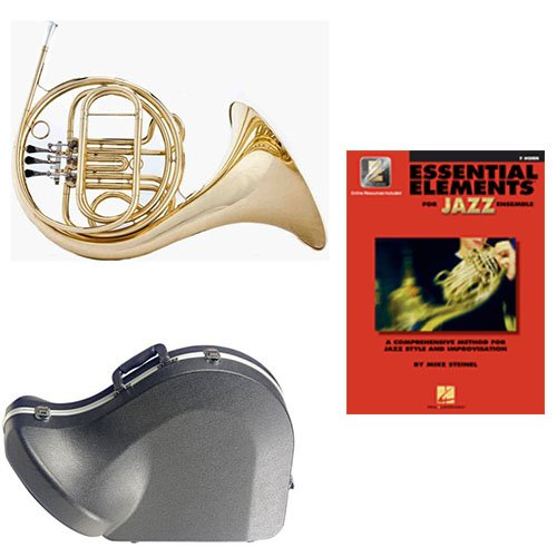 Band Directors Choice Single French Horn in F - Essential Elements for Jazz Ensemble Pack; Includes Student French Horn, Case, Accessories & Essential Elements for Jazz Ensemble Book by French Horn Packs