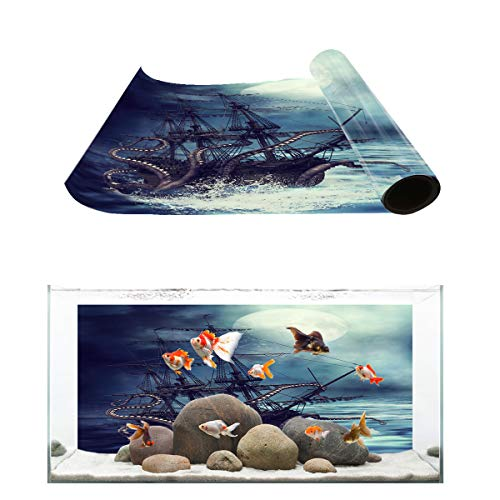 Fantasy Star Aquarium Background Kraken Octopus Monster Pirate Ship Fish Tank Wallpaper Easy to Apply and Remove PVC Sticker Pictures Poster Background Decoration 24.4