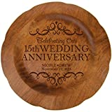 Personalized 15th Wedding Anniversary Plate Gift for Her, Happy 15 Year Anniversary for Him, 12' D Custom Engraved for Husband or Wife by Dayspring Milestones USA Made (15th Year with Scrolls)