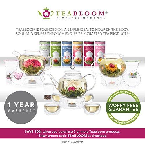 Teabloom Natural Flowering Tea - 12 Unique Varieties of Blooming Tea Balls - Hand-Tied Green Tea & Edible Flowers - 12-Pack Gift Canister - 36 Steeps, Makes 250 Cups by Teabloom (Image #4)