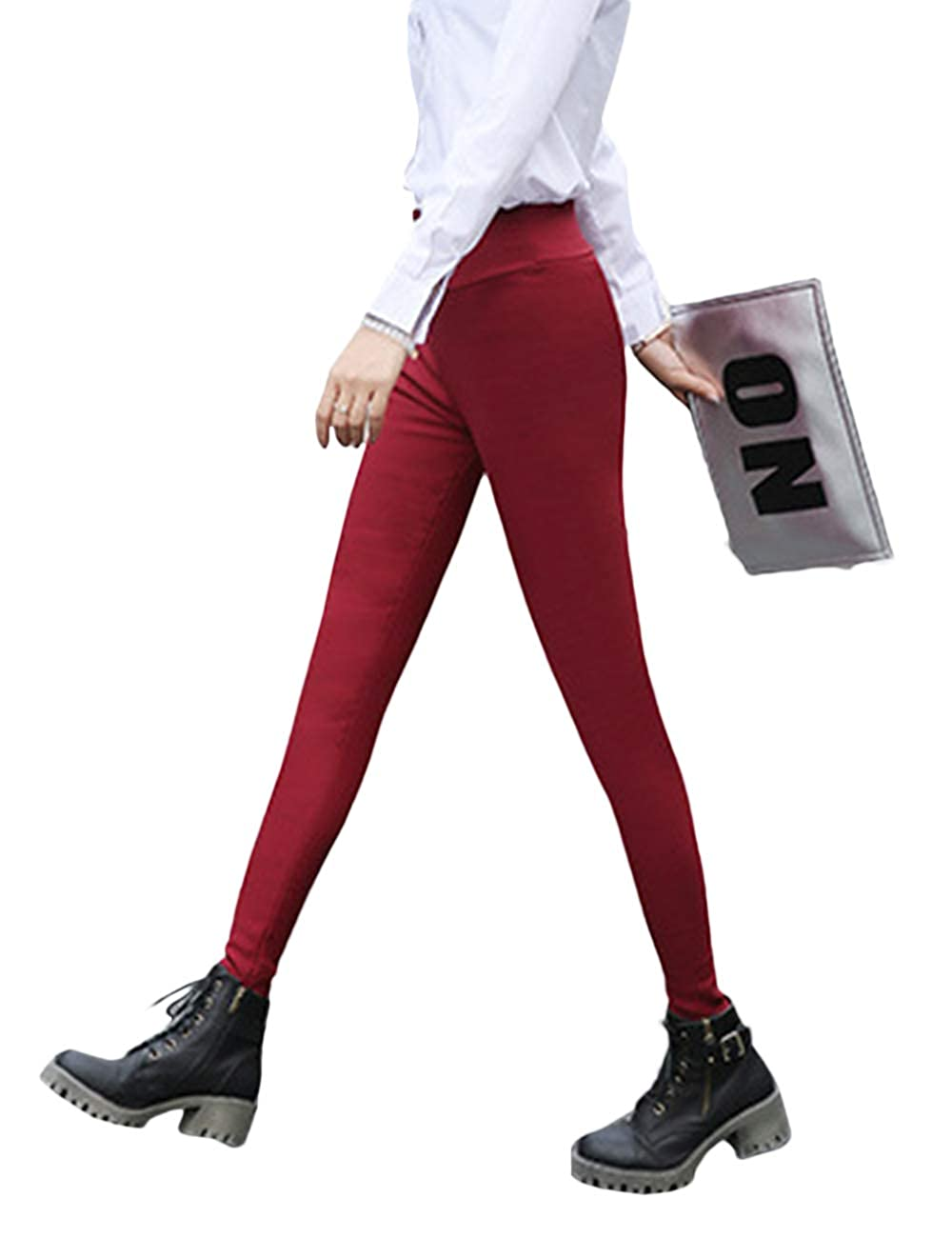 Women's High Rise Warm Fleece Lined Pants Leggings Winter Skinny Pencil Pants
