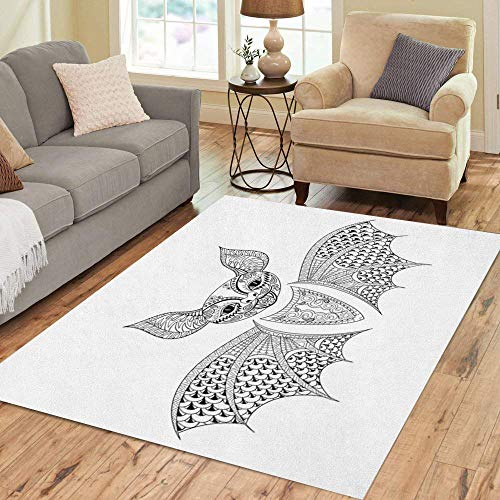 Semtomn Area Rug 3' X 5' Zentangle Bat Totem for Adult Anti Stress Coloring Page Home Decor Collection Floor Rugs Carpet for Living Room Bedroom Dining Room]()