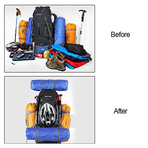 7bd819bc23 ONEPACK 70L Internal Frame Hiking Backpack with Rainfly (65+5L) Backpacking  Bag with