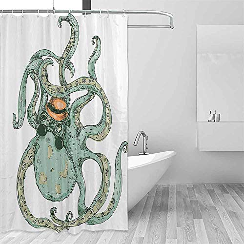Funny Shower Curtain Octopus Decor Collection Cartoon Hipster Octopus with Hat Sketch Art Illustration Sea Creature Retro Style Decor Decorated Bathroom W60 xL72 White Green
