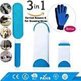 Pet Hair Remover With Self -Cleaning Base | Fur and Lint Remover | Double Sidede Brush | Pet Grooming Glove | Grooming Tool with Enhanced Five Finger Design | Perfect for pet