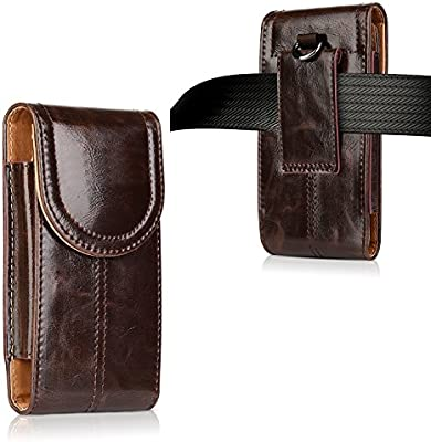 iPhone 8 Plus Leather Pouch Case,kiwitatá Universal Vertical Leather Belt Pouch Carrying Case [Belt Loop] Crazy Horse for iPhone 7 Plus iPhone 6S Plus (Brown)