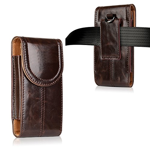 (iPhone 8 Plus Leather Pouch Case,kiwitatá Universal Vertical Leather Belt Pouch Carrying Case [Belt Loop] Crazy Horse for iPhone 7 Plus iPhone 6S Plus)