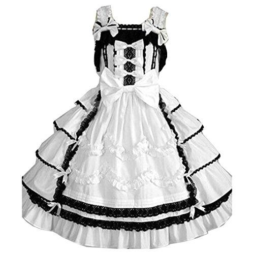 Lolita Damen Weiß Passe Gotische Kleider Partiss Weisse Cotton Bows wYawxq