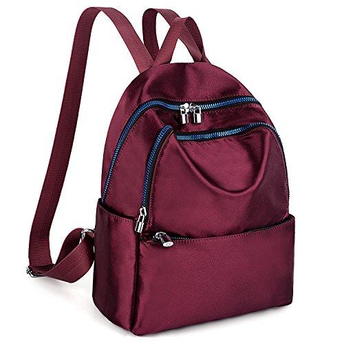 Nylon Rucksack (UTO Fashion Backpack Waterproof Nylon Rucksack Vivid Cool Zipper School College Bookbag Shoulder Purse Red)