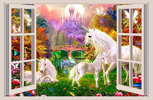 Mural Wall Unicorn - Unicorn Fantasy 3D Window View Decal WALL STICKER Art Mural Legendary Animals 18