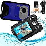 "Pellor Waterproof Digital Camera for Snorkeling 2.8"" FHD 1080P 8.0MP CMOS Sensor 21MP Video Recorder Selfie DV Recording Underwater Camerater Camera with 16 SD Card (Blue)"
