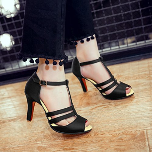 AIYOUMEI Womens Satin Peep Toe Stiletto High Heel T Strap Sandals Fashion Party Shoes Black 8uKJIA