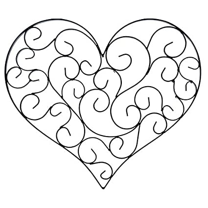 Amazon.com: Black Swirly Heart Metal Wall Decor: Home & Kitchen