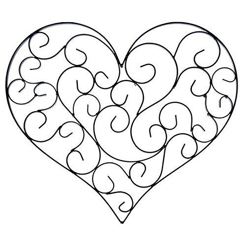 Black Swirly Heart Metal Wall Decor