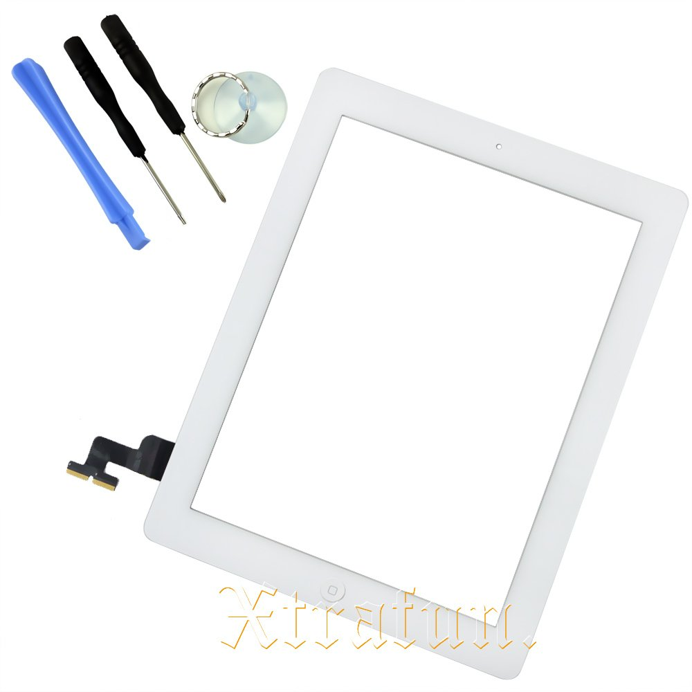 Digitizer Home Button Assembly for Apple iPad 2 White Front Glass Touch Screen