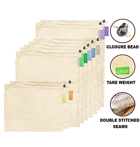 purifyou Premium Reusable Mesh/Produce Bags, Set of 9 | Raw, Organic, Unbleached Cotton | Double-Stitched, with Tare Weight on Tags | Large, Medium & -