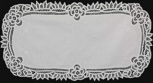Creative Linens White Battenburg Lace Table Runner 16x34 Oval Dresser Scarf, 100% Cotton, Hand Embroidery