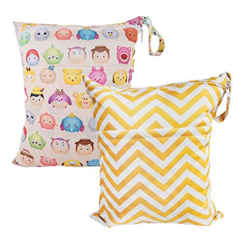 Cloth Diaper Wet Dry Bags Set Waterproof Reusable Dual Zipper for Baby Kids Gym Travel Laundry Swimsuit Towel 2pcs B