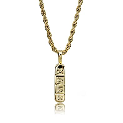 """d6e49a09d918d TOPGRILLZ 14K Gold and Silver Plated Xanax Pill Bar Pendant Necklace for  Men with 24"""" Stainless Steel Rope Chain"""