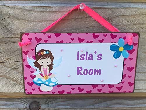 airy Room Sign Kids Name Plaque Bedroom Door Plaque Fairy Name Plaque Magical Fairy Personalised Door Sign ()