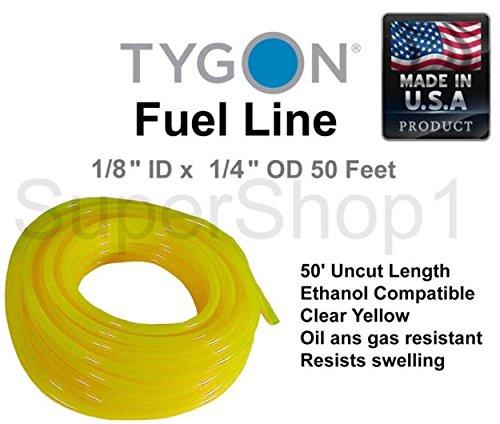 Tygon Fuel Line 1/8'' ID x 1/4'' OD 50 Feet Roll Clear Yellow Ethanol Compatible