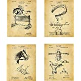 Equestrian Patent Wall Art Prints - set of Four (8x10) Unframed - wall art decor for horse lovers