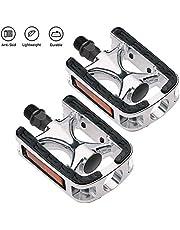 ACUMSTE Pedals de Bicicleta de Montaña Pedal de Aleación de Aluminio Antideslizantes Accesorios Universal Pedal para MTB Bicicleta, Bicicleta de Carretera, Plata