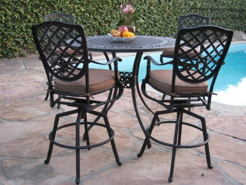 Winston Outdoor Patio Furniture (Cast Aluminum Outdoor Patio Furniture 5 Piece Bar Stool Set B with 4 Swivel Bar Stools CBM1290)