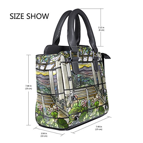 Art Bag Women's Purse Bennigiry Shoulder PU Bag Rivet Nature Painting Leather Tote ARxqOgxw