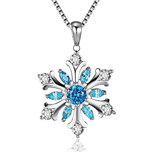 Snowflake Pendant Necklace with Blue and White Cubic Zirconia, Platinum-Plated