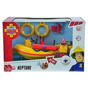 Sam El Bombero - Neptuno, lancha de Agua con Figura y Accesorios, Color Amarillo