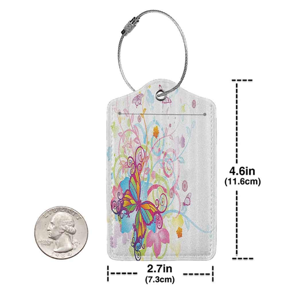 Durable luggage tag Butterflies Decorations Collection Butterfly with Floral Elements and Leaves Stylized Curvy Branches Ornament Print Unisex Multi W2.7 x L4.6