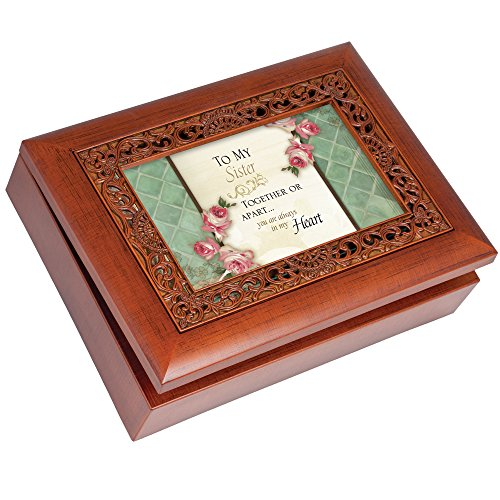 Cottage Garden Sister Woodgrain Ornate Music Box Plays Wonderful World